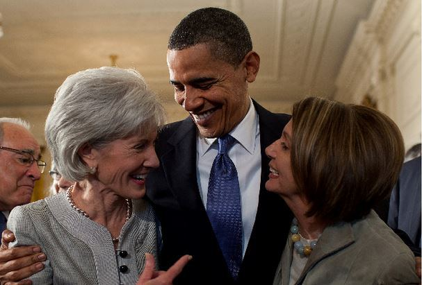 Obama with Sebellius and Pelosi