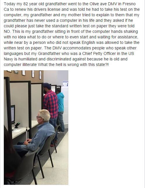 DMV test for old man