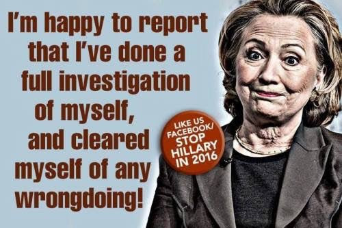 Hillary investigate herself