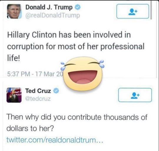 Trump v Cruz on tweet