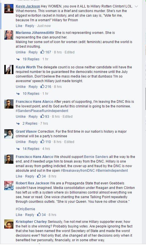 Clinton nomination comments
