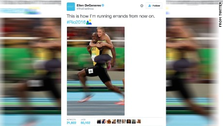 Ellen Degeneris tweet with Usain Bolt