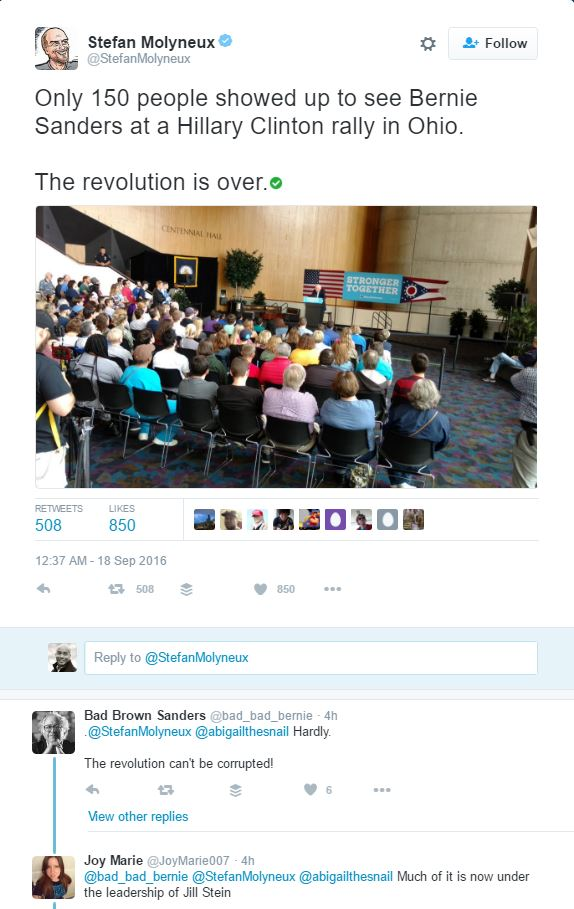 bernie sanders revolution has ended tweet